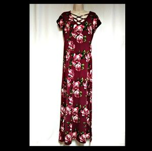 Short Sleeve Floral Wine Color Maxi-Dress NWT's